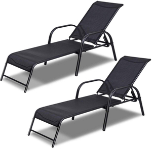 Armrest Pool Chaise Lounge Chair Patio Furniture with 5 Position Adjustable Poolside Back 250lbs Capacity