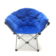 Folding Saucer Chair Moon Round Soft Comfortable Short Plush Faux Fur Padded Club Seat for TV Living Room Dorm (Blue)