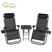 Outdoor Zero Gravity Lounge Chairs Set of 2 with Patio Table, Cup Holders And Pillows